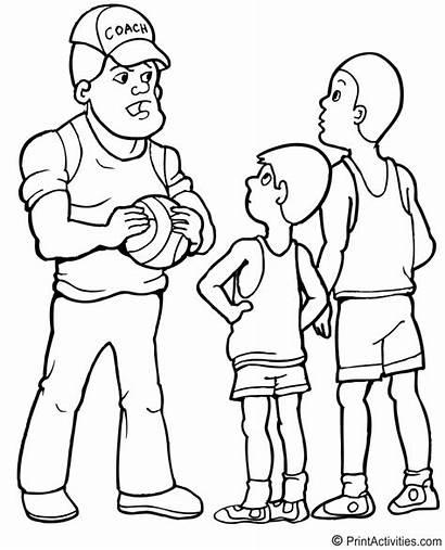 Coach Basketball Coloring Talk Pep Jobs Giving