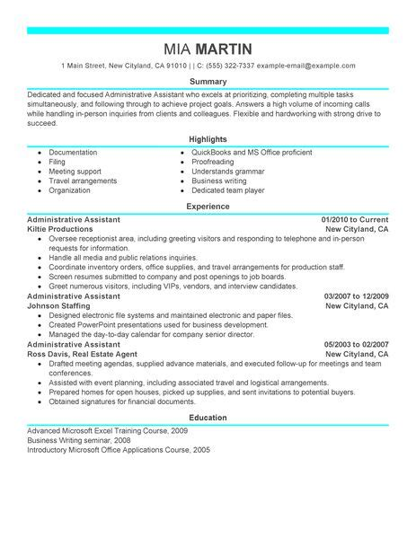 resume sle for administrative assistant experience