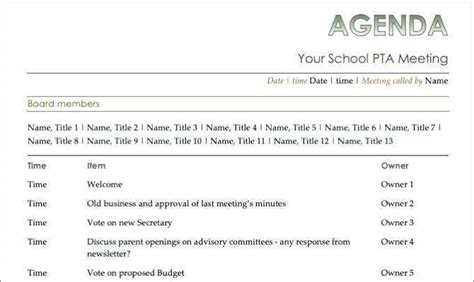agenda template  agm cards design templates