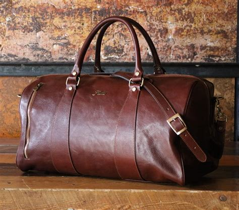 leather weekender bag with shoe compartment leather duffle bag 21 floto 141217 brown travel bag