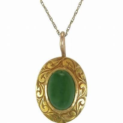 Gold 14k Yellow Jade Pendant Estate Engraved