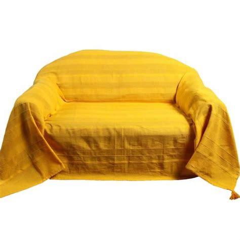 jeté canapé 3 places jeté de lit ou de canapé rajput tissé jaune 250