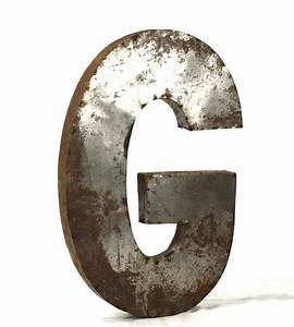 industrial rustic metal large letter g 36 inch kathy kuo With large industrial letters