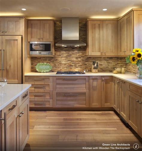 walnut  oak wood kitchen cupboards sleek handles inset