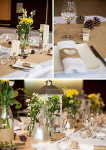 Table Mariage Champetre : ronds de serviette jute et coeur corce d co et fleurs by ~ Melissatoandfro.com Idées de Décoration