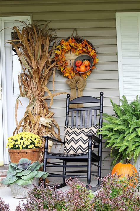 front porch fall decor thrifty eclectic midwestern ranch style home tour debbiedoos
