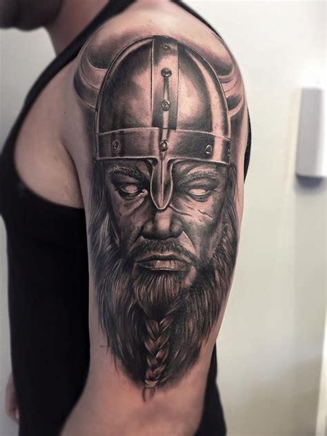 tattoos realistic viking warrior sleeve tattoos