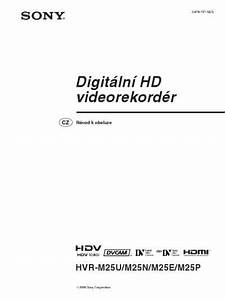 Sony Hvr M25 Video Recorder Download Manual For Free Now