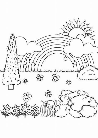 Coloring Nature Landscape Scenery Pages Sketches Fall