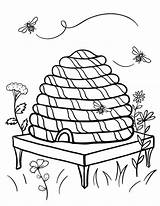 Coloring Hive Beehive Pages Bee Printable Coloringcafe Bumble Honey Bees Sheet Pdf Sheets Nature Clipart Button Prints Standard Below sketch template