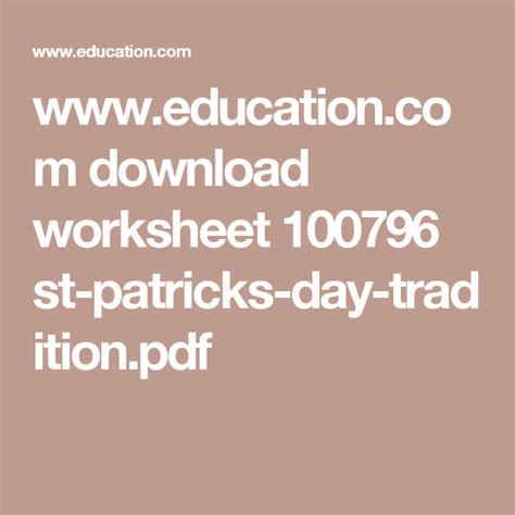 st patricks day traditions  images worksheets