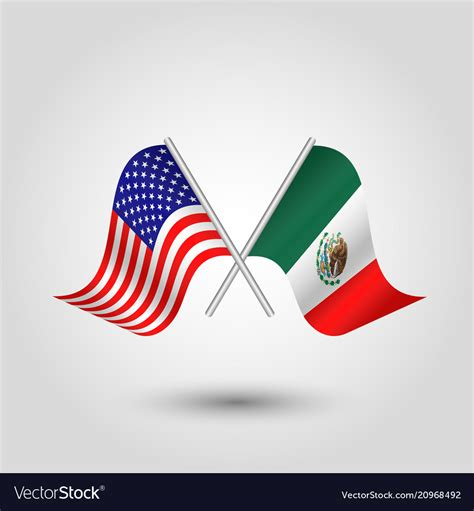 Mexican And American Flags Crossed - About Flag Collections