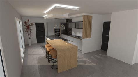 cuisine design bois cuisine design gris clair et bois avec grand îlot et