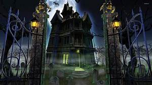 Open gates to the haunted mansion wallpaper