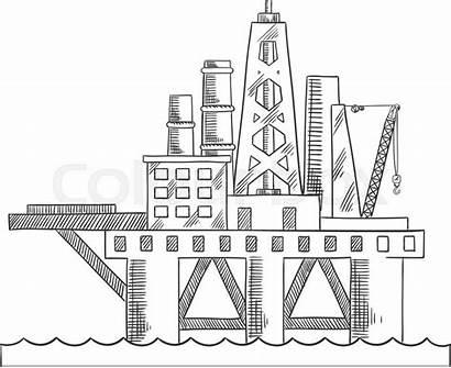 Oil Platform Drilling Sketch Offshore Rig Drawing