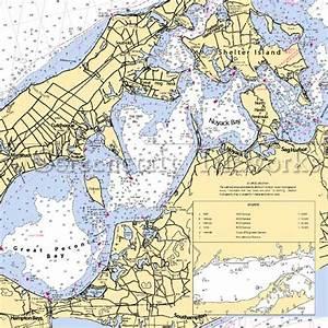 New York - Peconic Bay / Nautical Chart Decor