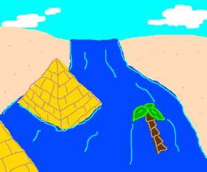 Flooded Nile river - drawing by StickGirl