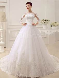 applique illusion wedding dress court train wedding gown With milanoo wedding dresses