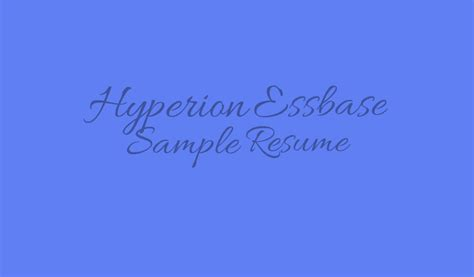 hyperion essbase sle resume datawarehouse architect