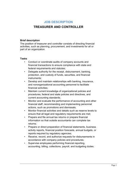 treasurer and controller description template