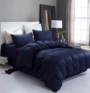 New, Navy, Blue, High, Quality, Home, And, Hotel, Bedding, Set, 2, Pillow, Case, 1, Bed, Sheet, And, 1, Duvet