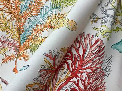 Coral Fabric Reef Sea Upholstery Material Cotton