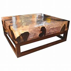 Andrianna Shamaris Cracked Resin Coffee Table For Sale at