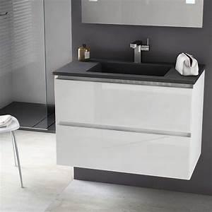 meuble salle de bain 81cm blanc brillantvasque pierre With meuble salle de bain pierre