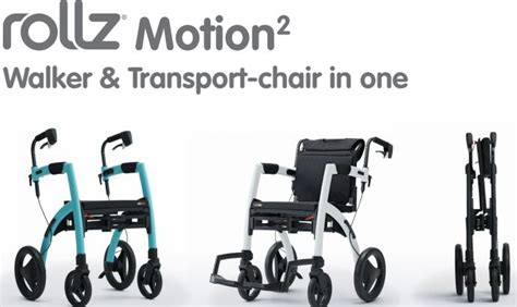 rollz motion 2 in 1 transport wheelchair rollator