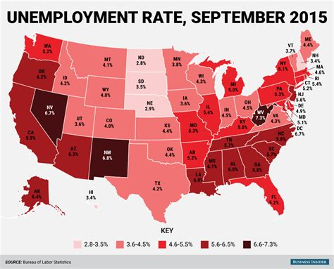 us labor bureau state unemployment rates september 2015 business insider