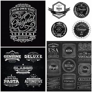 Blackboard retro badges vector   Free download