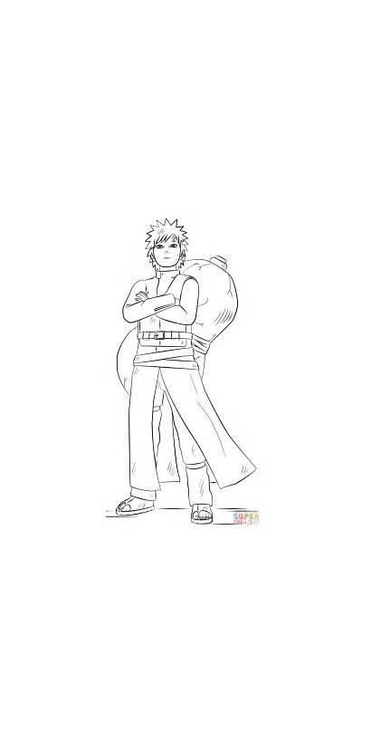Coloring Naruto Gaara Pages Printable Drawings Drawing