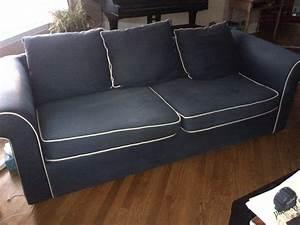 Navy blue sofa with white piping ezhanduicom for Navy blue sectional sofa with white piping