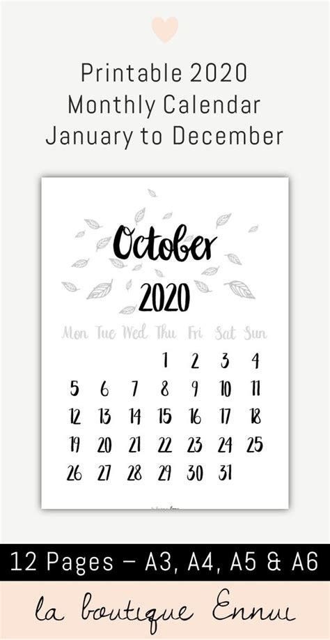 printable  monthly calendar  black  white