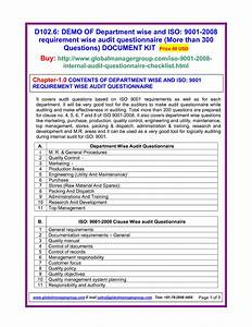 Internal Quality Management System Audit Checklist Iso