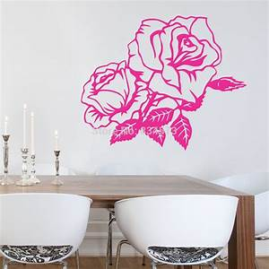 aliexpresscom buy hot beautiful rose flower wall art With beautiful flower decals for walls