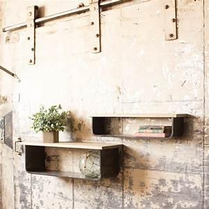 Metal And Woods : metal and wood wall shelves set cq6472 ~ Melissatoandfro.com Idées de Décoration