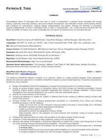 sharepoint developer resume sle todd sharepoint resume