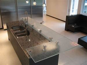 Raised Firemolded Glass Bar Top - Contemporary - Kitchen