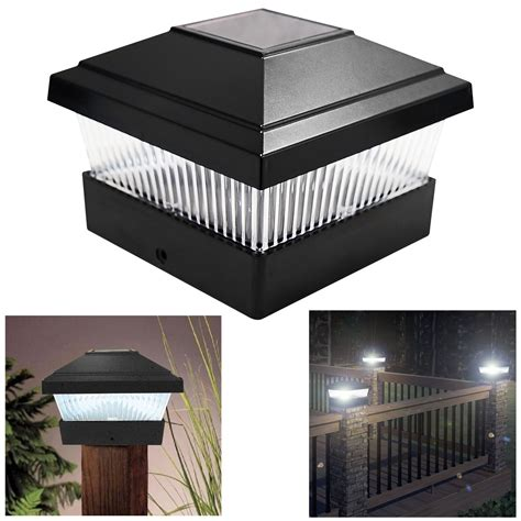 solar led outdoor l post solar led powered light garden deck cap outdoor decking