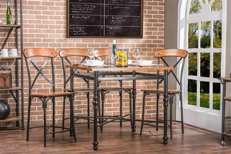 baxton studio broxburn light brown wood metal pub table