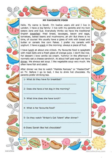 favourite food worksheet  esl printable