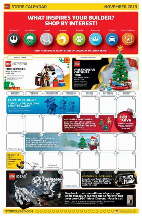 lego november  store calendar promotions   brick fan
