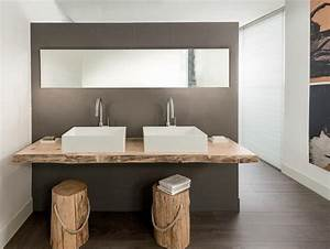 Plan De Travail Salle De Bain Bois : salle de bain rustique contemporaine et tendance ~ Teatrodelosmanantiales.com Idées de Décoration