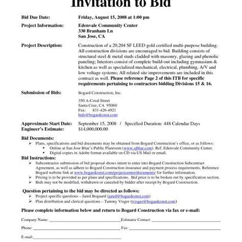 to bid construction invitation to bid template invitation to