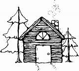 Cabin Coloring Outline Log Designlooter Drawings Atop sketch template