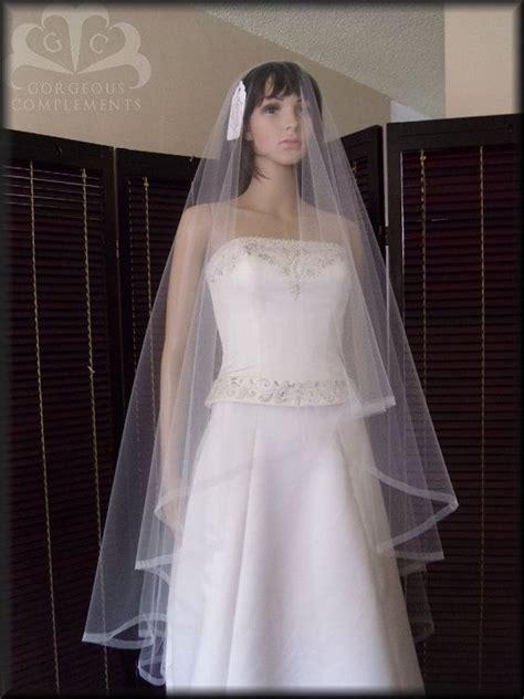 Wedding Veil Elegant Drop Veil Waltz With Mock Organza
