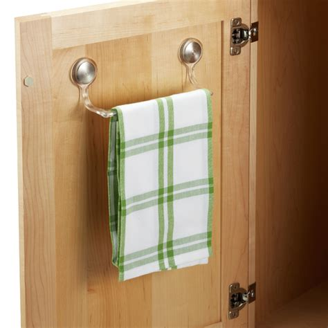 kitchen cabinet towel bar forma adhesive towel bar the container store