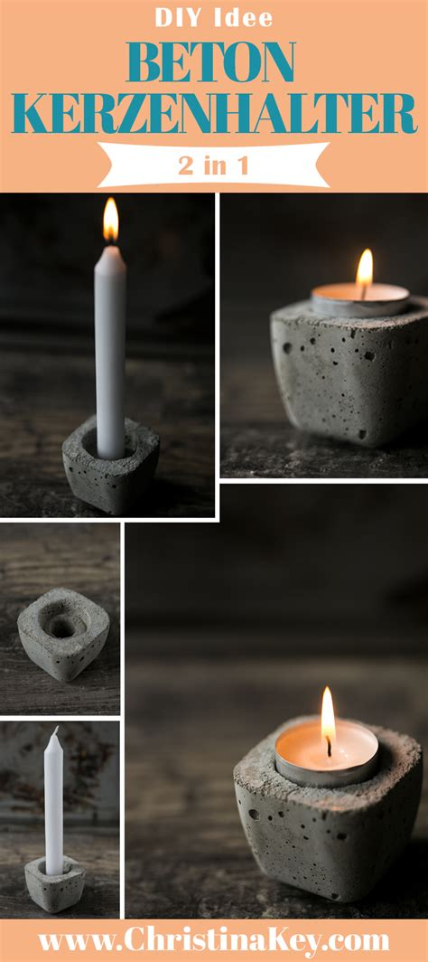beton kerzenhalter fuer teelichter stabkerzen kreative