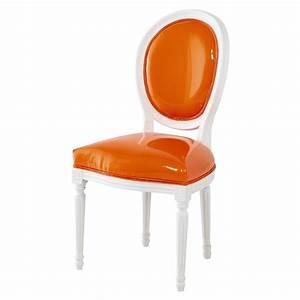 Chaise En Bois Blanc : chaise m daillon en textile enduit orange et bois blanc louis maisons du monde ~ Teatrodelosmanantiales.com Idées de Décoration